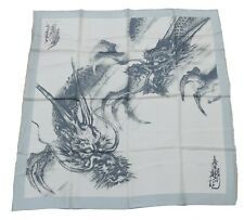 Horiyoshi III Dragon 100% Silk Square Scarf Scarves Beige Green 88cm x 88cm