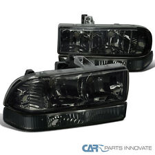 98-04 Chevy S10 Blazer Pickup Smoke Headlights+Bumper Lamps Replacement Pair