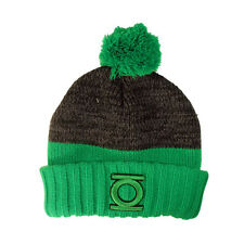 OFFICIAL DC COMICS GREEN LANTERN SYMBOL BLACK AND GREEN POM BEANIE HAT (NEW)