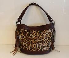 B Makowsky Andrea Leopard Calf Hair Fringe Leather Lg Bucket Hobo Purse