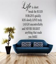 Life Is Short Wall Art Sticker Quote Decal Vinyl Transfer Home Bedroom Kitchen