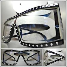Classic Vintage Retro Style Clear Lens EYE GLASSES Bling Rectangular Black Frame