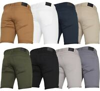 Von Denim New Mens Slim Fit Stretch Cotton Chino Shorts Summer Casual All Waists