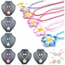 5Sets New Frangipani Girls Kids Necklace Earrings Jewellery Sets 6 Colors Mixed