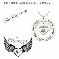Personalised Name Necklace Heart Ring Love silver Plated Jewellery Mothers gift