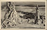 Oberwiesenthal Erzgebirge DDR Postkarte 1952 gelaufen Totale im Winter Schnee