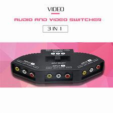 3 Ports Audio Video AV RCA Switch Box Composite AV Selector Switcher + Cable