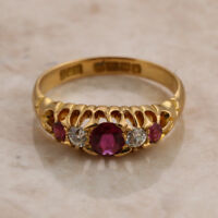 Edwardian 18ct Yellow Gold Five Stone Ruby and Diamond Ring Size J 1/2