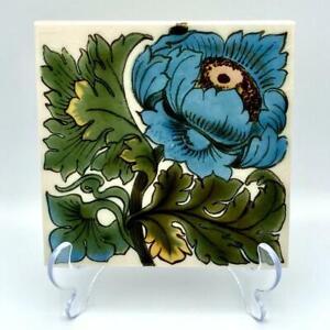 """George Museum Ironbridge Ceramics 6"""" Tile Stand Trivet Blue Floral Arts Nouveau"""