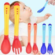 Heat Sensing Thermal Feeding Spoon Fork Set Baby Kids Weaning Silicone Tableware