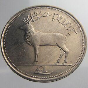 1990 Ireland Republic Punt Pound KM# 27 Irish Harp Red Deer Eire V002