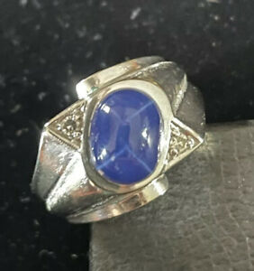 Vintage Estate 10K White Gold Linde Star Sapphire & Diamond Ring Size 8.5