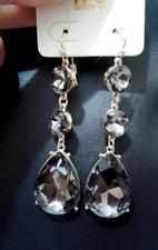 Gold Black Diamond Crystal Rhinestone Teardrop Evening Earrings Dangle NEW