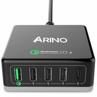 ARINO 5 Port 40 W USB Charging Station Qualcomm Quick Charge 2.0 Type C & USB