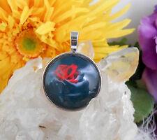 Ketten Anhänger Rose Liebe Hände Glas Cabochon 25 mm - Amulett