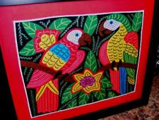 FOLK ART TEXTILE ART QUILT PANEL Stitched APPLIQUE Exotic PARROT BIRDS Kuna ?