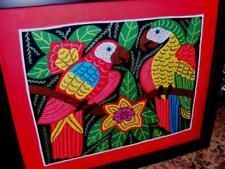 Folk Art Textile Kuna Quilt Panel Stitched APPLIQUE Exotic PARROT BIRDS Kuna ?