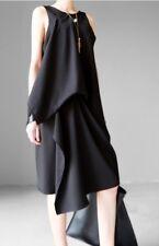 Japanese Designer Style Asymmetric Crepe Ruffle Chiffon Black Grey Dress