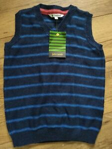 John Lewis Breton Boys' Fair Isle Knitted Tank Top blue & navy AGE 7 BRAND NEW