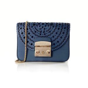 Furla Blue Laser Cut Leather Metropolis Bolero Mini Crossbody Bag Handbag