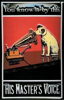 """HMV Nipper """"You Know It By This"""" embossed sign   300mm x 200mm  (hi)"""