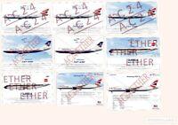 British Airways Aircraft Fleet Illustration Print - Boeing, Airbus, Concorde