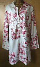 Roxy cotton shirt dress S.5(14/16). Button front, white with red floral detail