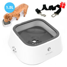 Dog Water Bowl No-Spill Slow Water Feeder Dispenser for Car Free Seat Belt Lead