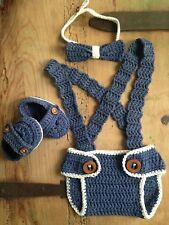 Conjunto Bebe Pajarita Recién Nacido Atrezo Nuevo Crochet Ganchilloo