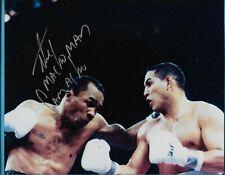 """Hector """"Macho"""" Camacho versus Sugar Ray Leonard Autographed 8x10 Photo"""
