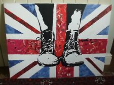 More details for large original punk art collage and acrylic union jack dm boots painting canvas