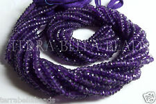 "13"" strand deep purple AMETHYST faceted gem stone rondelle beads 4mm - 4.5mm"