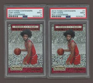 Lot of 2 2019 Panini Contenders ROY Coby White PSA 9 Mint Rookie RC