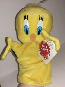 """Looney Tunes Hand Puppet Tweety Applause New w/Tags Plush Vintage 1994 12"""""""