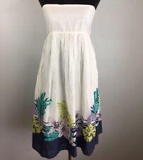 Moda International Sun Dress S Small White Multi Color Floral Strapless Cotton