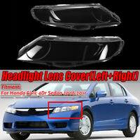 Pair Headlight Headlamp Clear Lens Cover For Honda Civic 4Dr Sedan