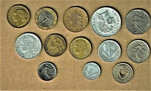 Francaise, 13 coin lot w/ 20 Franc thru 1- Centimes; 1919 and up with Bimetallic