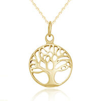 Solid 9ct Gold Tree of Life Pendant Charm & Necklace Chain Jewellery 9k