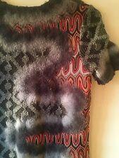 RARE Collectors Missoni Wool Felt Nuno Lattice Classic Print,Gray,orange Dress M