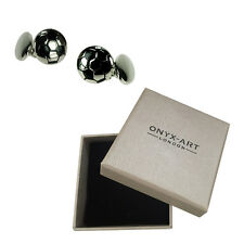 Mens Silver Plated Football Cufflinks & Gift Box By Onyx Art
