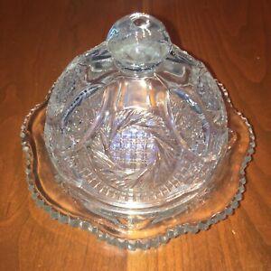 Vintage Crystal Butter Dish Dome Lid Flowers Starburst Cut Glass Elegant Luxury