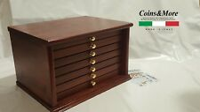 Monetiere Medagliere 7 Cassetti Artigianale colore Mogano Coins&More Cabinet