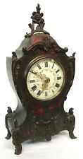 Antique French Boulle Ormolu Red Tortoise Shell Veneered Mantel Bracket Clock