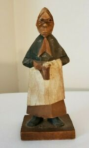 Carved Wood Figure by Trygg Women Holding Beer Mug Folk Art Signed - Authentic