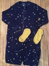 Nick and Nora Blue Stars Fleece Footie PJ Pajamas S Small One Piece Sleeper