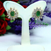 NATURAL 4 X 6 mm. OVAL GREEN EMERALD & WHITE TOPAZ EARRINGS 925 STERLING SILVER