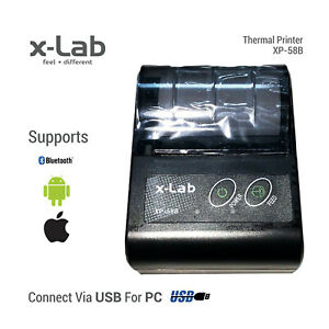 58mm Portable Bluetooth Thermal Receipt Pocket Printer for iPhone Android & PC