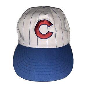 Vintage Chicago Cubs MLB Pinstripe Baseball Cap Snapback Hat 90s MLB Pepsi Arbys