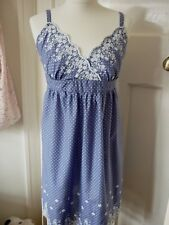 Pretty Blue & White Cotton Strappy Dress from Oasis Size 12