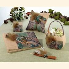 Camouflage Burlap And Feathers 5 Piece Rustic Wedding Collection, Brown